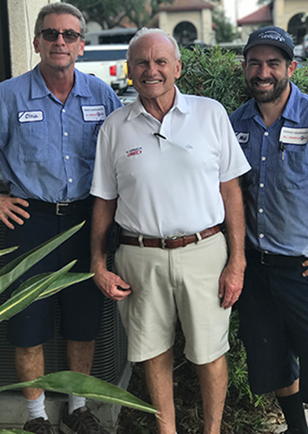 Three employees representing the professionals of indoor air quality servicer Steve Chapman's All American Air servicing Jacksonville, FL